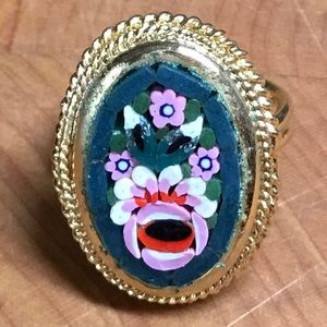 Vintage 60s ITALY Mosaic floral oval ring